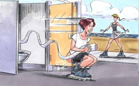 Roller-Skates-in-a-Restroom