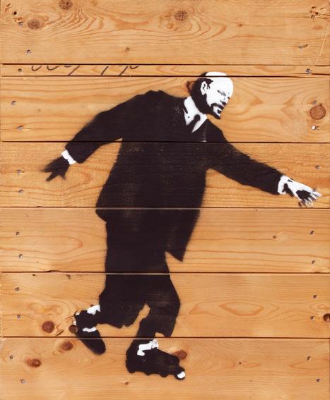 banksy lenin rollerblades stencil street art